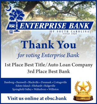 Thank You For Voting Enterprise Bank 1st Place Best Title